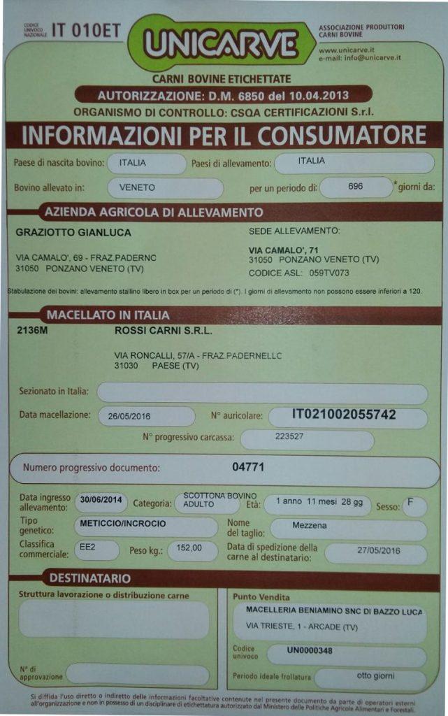 Certificato carni
